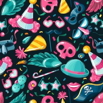 Cose di carnevale seamless pattern senza soluzione di continuità di una cornice quadrata su uno sfondo scuro cose di carnevale e attributi accessori per feste e mascherare oggetti sul tema di purim.