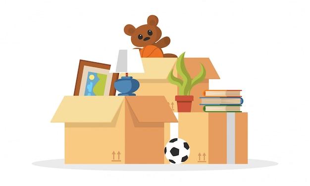 Cose raccolte per impilare palla, orsacchiotto, pianta, libri, foto, scatole di cartone per il trasferimento, trasloco in altro, appartamento, casa. servizi aziendali di trasporto o trasloco. cartoon.