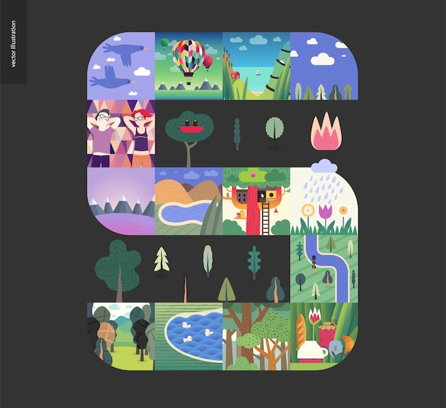 Cose semplici, composizione set foresta su uno sfondo nero
