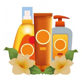 Cosmetici abbronzanti con fiori