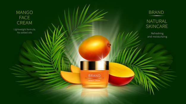 Cosmetici al mango tropicale realistici