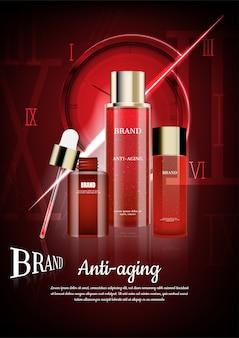 Cosmetici anti invecchiamento con sfondo numeri romani