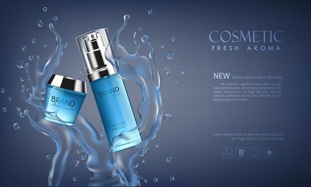 Cosmetici bottiglia vettoriale su sfondo blu scuro