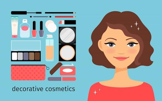 Cosmetici decorativi con una bella ragazza