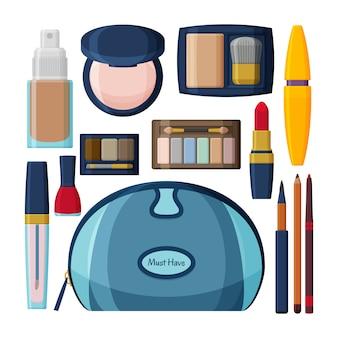 Cosmetici decorativi per viso, labbra, pelle, occhi, unghie, sopracciglia e beautycase. compongono lo sfondo. collezione di icone. illustrazione.