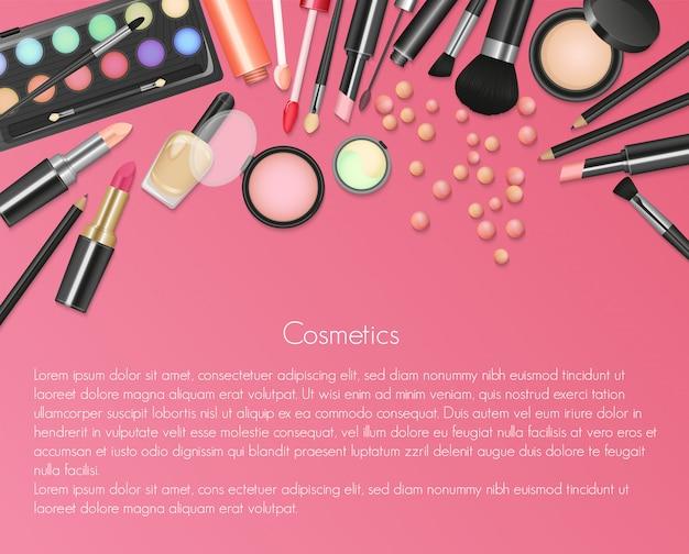 Cosmetici di bellezza sfondo di trucco