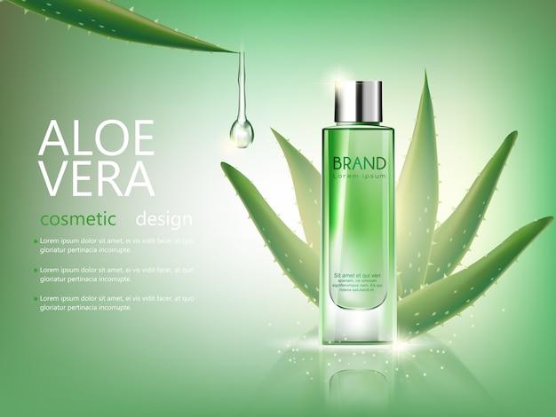 Cosmetici di bottiglia aloe vera di vettore mock up su sfondo verde