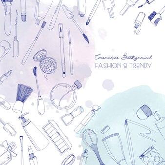 Cosmetici di moda sfondo quadrato con oggetti truccatore e macchie di acquerello. illustrazione disegnata a mano con posto per il testo.
