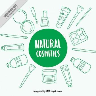Cosmetici naturali, sfondo disegnato a mano