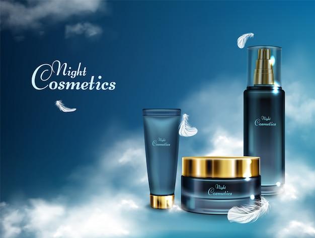 Cosmetici notte di donna 3d banner realistico