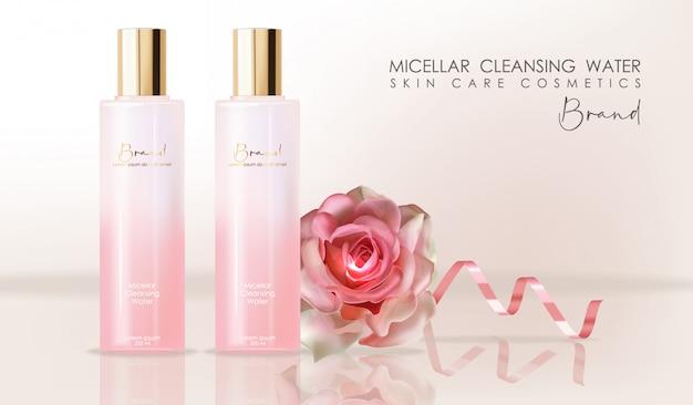 Cosmetici realistici per la cura della pelle, acqua detergente micellare, confezione di bottiglie rosa