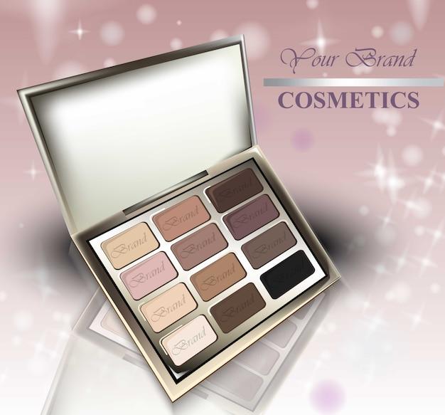 Cosmetici realistici su sfondo scintillante. ombretti collezione nude pastel colors. confezioni cosmetiche, pubblicità, mock up
