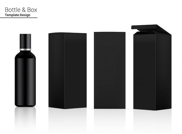 Cosmetici realistici vuoti in bottiglia lucida e scatola 3d per l'imbiancatura della cura della pelle e l'invecchiamento della confezione antirughe.