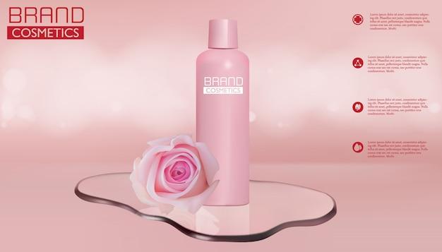 Cosmetici rosa e pubblicità del prodotto rose con modello di testo