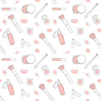 Cosmetici senza cuciture di rosa del modello disegnati a mano, illustrazione di vettore