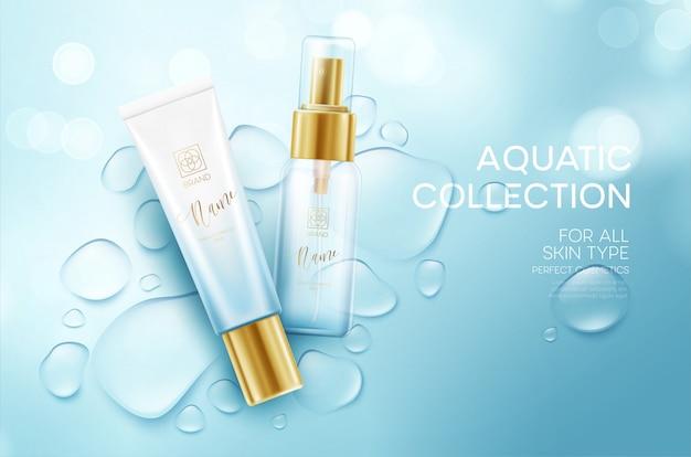 Cosmetici su uno sfondo con gocce d'acqua. modello di progettazione crema idratante per il viso.