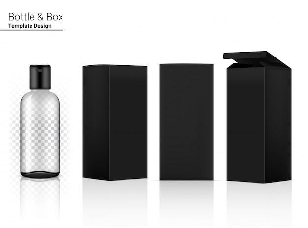 Cosmetico realistico trasparente e scatola della bottiglia nera per l'illustrazione del prodotto o della medicina di cura della pelle. assistenza sanitaria e concetto medico.