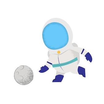 Cosmonauta che gioca con la luna come palla. Carattere, gioco, sport.