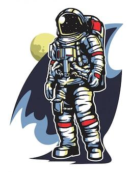 Cosmonauta nel vettore dello spazio