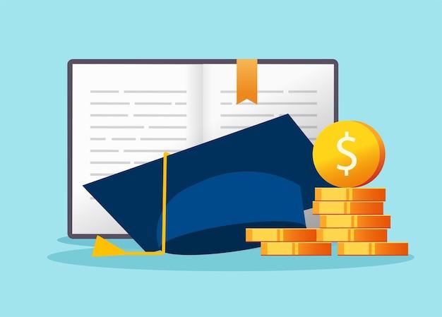 Costo della borsa di studio, concetto di credito per prestito di denaro per l'istruzione, tassa finanziaria per le tasse universitarie