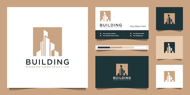 Costruire logo design con un concetto moderno. estratto della costruzione di edifici della città per l'ispirazione di progettazione di logo. logo design e biglietto da visita
