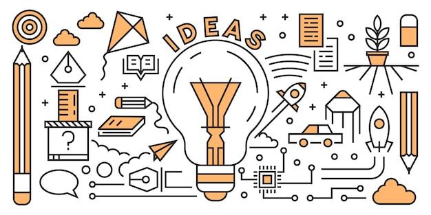 Costruire startup flat line design concept. elementi di avvio doodle geometrico.