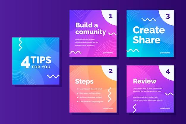 Costruisci un modello di storie instagram della community per suggerimenti