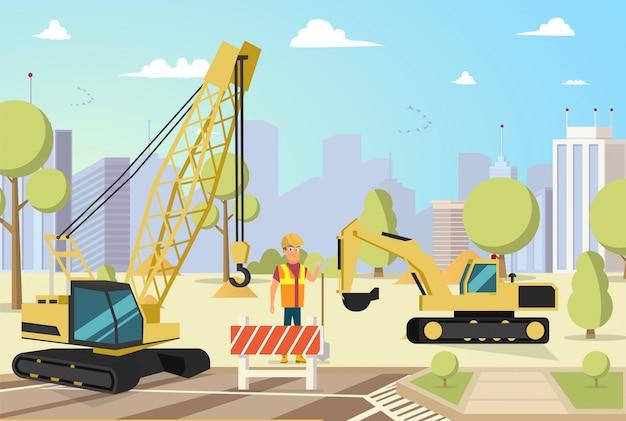 Costruttore che corregge lavoro gru di costruzione
