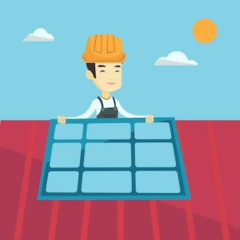 Costruttore che installa il pannello solare.