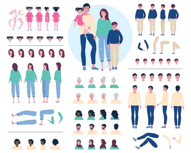 Costruttore del personaggio dei cartoni animati della famiglia, illustrazione del kit di creazione