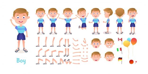Costruttore del personaggio del ragazzo. kit mascotte creazione ragazzo cartoon. la creazione del personaggio pone pose ed emozioni per l'animazione e le illustrazioni