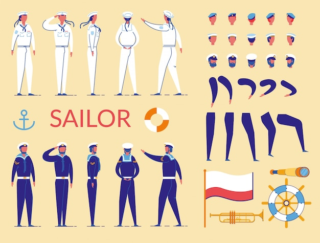 Costruttore di personaggi marinaio uomo in uniforme.