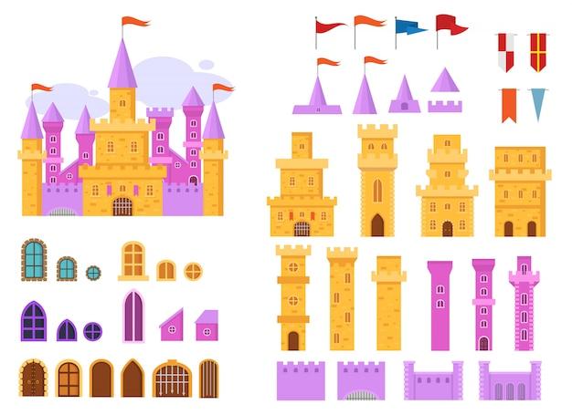 Costruttore di torre medievale da favola del castello di vettore del fumetto della costruzione del palazzo di fantasia nel regno illustrazione di paese delle fate set di bastione storico casa delle fiabe isolato su bianco