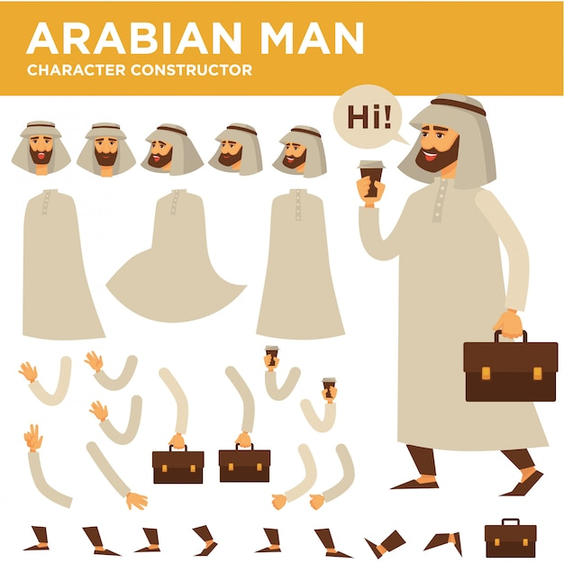 Costruttore di vettore personaggio uomo arabo