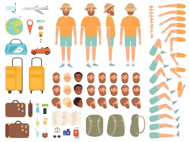 Costruttore turistico. parti del corpo del personaggio maschile valigia biglietti e altri oggetti per la raccolta del kit di creazione itinerante