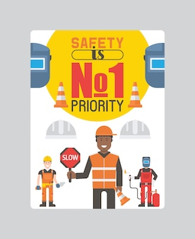 Costruttori e ingegneri di operai con poster di strumenti o attrezzature. i lavoratori in elmetti protettivi e divise da lavoro tengono segnali stradali.