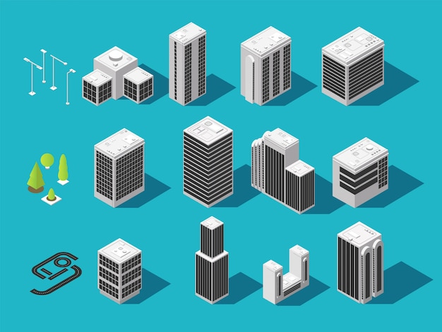 Costruzione 3d isometrica città e case con set di elementi urbano