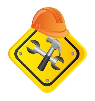 Costruzione degli strumenti con l'illustrazione di vettore del segnale stradale del casco