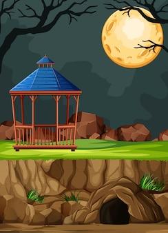 Costruzione del parco animale senza animale sul fondo di notte nello stile del fumetto