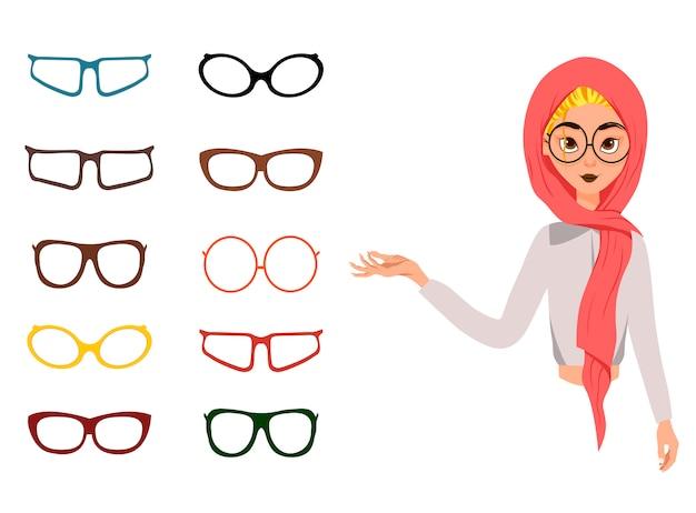 Costruzione del viso di donna. donna in una sciarpa con diverse opzioni per occhiali ed espressioni facciali.