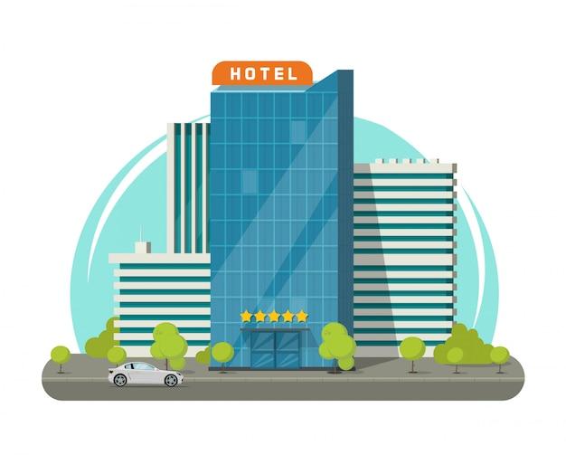Costruzione dell'hotel isolata sul fumetto piano dell'illustrazione di vettore della via della città