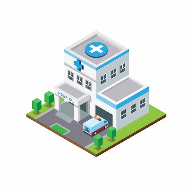 Costruzione dell'ospedale con auto ambulanza. stile piatto isometrico