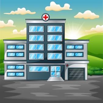 Costruzione dell'ospedale sul paesaggio verde di mattina