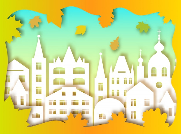 Costruzione della grande città e foglie d'autunno. illustrazione vettoriale stile di arte della carta