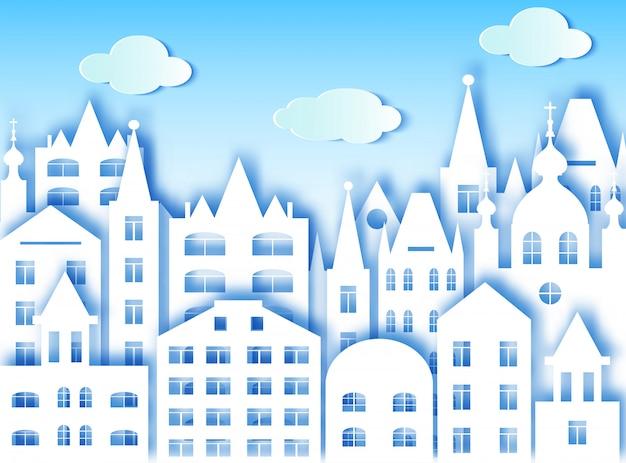 Costruzione della grande città e nuvole. illustrazione vettoriale stile di arte della carta