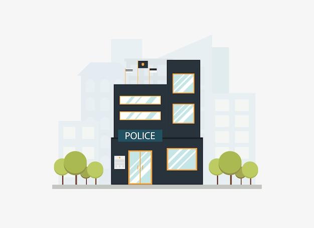 Costruzione di dipartimento moderna della stazione di polizia della città con l'orizzonte della città nello stile piano.