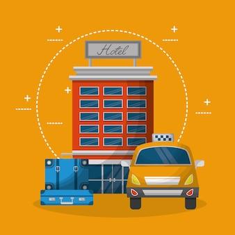 Costruzione di hotel servizio taxi e valigie