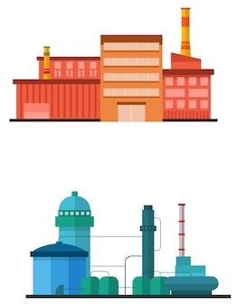 Costruzione di impianti industriali in stile vettoriale piatta