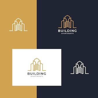 Costruzione di logo ispiratore con stile lineare