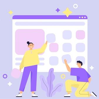 Costruzione di siti web, processo di costruzione di pagine web. design per grafica mobile e web. lavoro di squadra. illustrazione vettoriale piatta